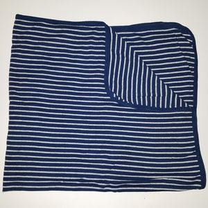 Carters Navy Blue Gray Stripe Cotton Blanket Lovey